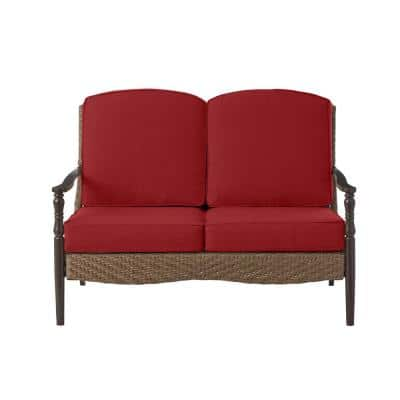 Bolingbrook Wicker Outdoor Patio Loveseat with Standard Chili Red Cushions