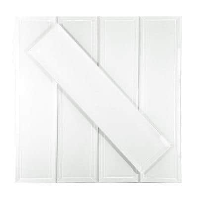 Frosted Elegance Glossy White Beveled Subway 3 in. x 12 in. Peel & Stick Glass Wall Tile (10.5 sq. ft./Case)