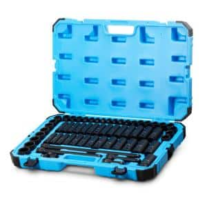 1/2 in. Drive SAE/Metric Master Impact Socket Set with Adapters and Extensions (61-Piece)