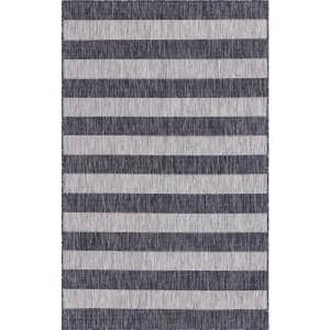 Outdoor Distressed Stripe Gray 8 ft. x 11 ft. Area Rug