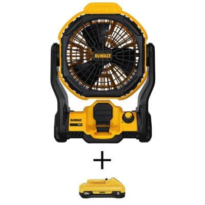 20-Volt MAX Cordless and Corded 11 in. Jobsite Fan with (1) 20-Volt 4.0Ah Battery