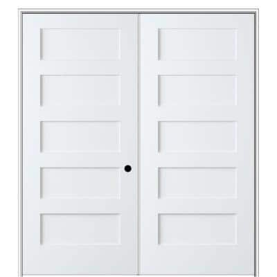 Shaker Flat Panel 56 in. x 80 in. Left Hand Solid Core Primed Composite Double Prehung French Door with 4-9/16 in. Jamb