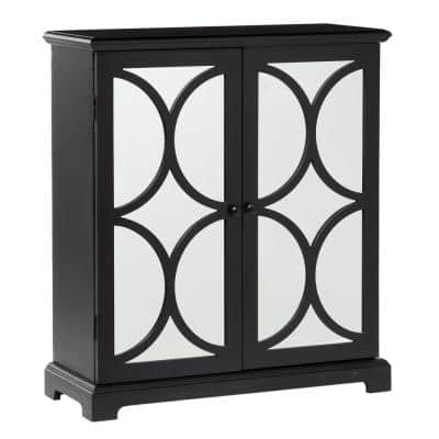 Modern Black Wood and Mirror Cabinet with Half Circle Cut-Outs