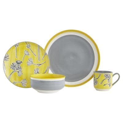 Couleur Yellow Stoneware 16-Piece Dinnerware Set with Service for 4