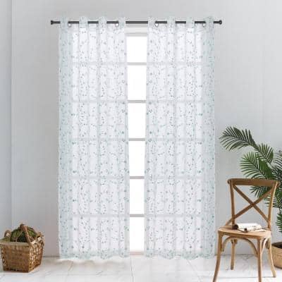 Joy Sheer Curtain 52in.Wx120in.L in Turquoise