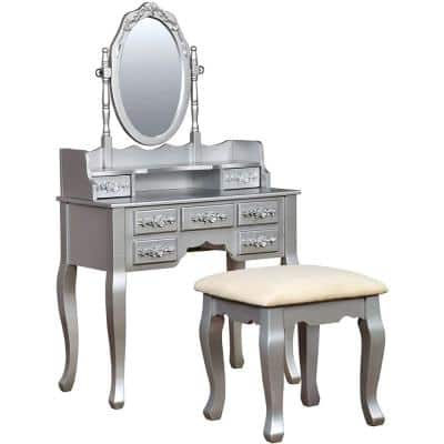 Traditional Silver Wooden Vanity Table
