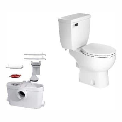 SaniAccess3 2-Piece 1.280 GPF Single Flush Round Toilet with .5 HP Macerating Pump in White