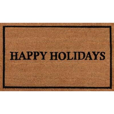 Park Holiday Greeting Black 1 ft. 8 in. x 2 ft. 9 in. Indoor/Outdoor Door Mat