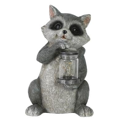 10 in. Tall Solar Raccoon with LED Firefly Jar Garden Statue