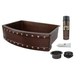 Dual Mount Copper 33 in. 0-Hole Single Bowl Rounded Apron Kitchen Sink with Barrel Strap and Drain in Oil Rubbed Bronze