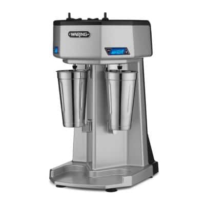 Heavy-Duty Drink Mixer 16 oz. 3-Speed Silver Blender with Double-Spindle Timer 2-Cups Included