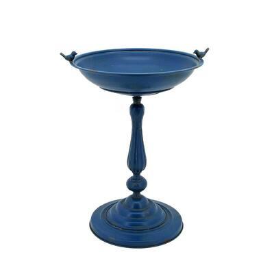 Round Pedestal Birdbath with Bird Details in Blue