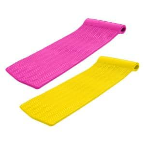 Serenity 70 in. Foam Mat Lounger Pool Float, Pink with Yellow Float