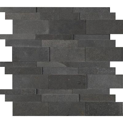 Neptune 3D 6 in. x 6 in. Honed Basalt Mesh-Mounted Mosaic Tile Sample (0.25 sq. ft.)