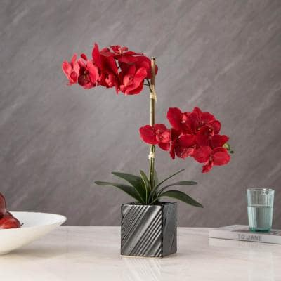 Artificial 21 in. 2-Stem Red Orchid Plant
