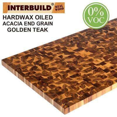 4 ft. 11 in. L x 2 ft 1.5 in. D x 1.6 in. T Butcher Block Countertop in Golden Teak Stained Acacia