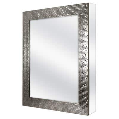 24 in. W x 30 in. H Fog Free Framed Recessed or Surface Mount Bathroom Medicine Cabinet in Brushed Nickel