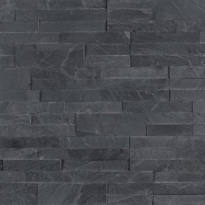 Take Home Tile Sample - Midnight Ash Veneer Peel and Stick 6 in. x 22 in. Honed Slate Wall Tile - 6 in. x 6 in