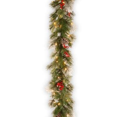 9 ft. Wintry Berry Garland with Clear Lights