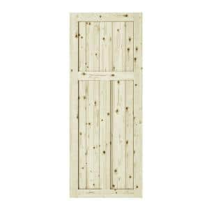 33 in. x 84 in. Craftman 3-Panel Unfinished Knotty Pine Interior Barn Door Slab