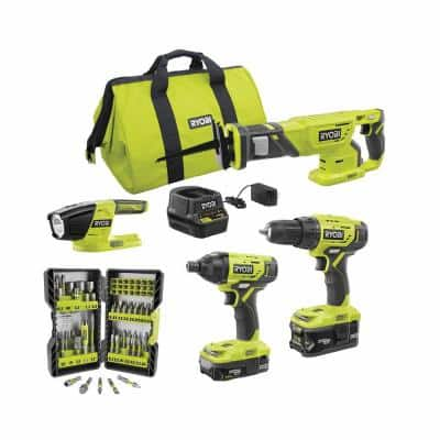 ONE+ 18V Cordless 4-Tool Combo Kit w/ (2) Batteries, Charger & Bag w/ Bonus Impact Rated Driving Kit (70-Piece)