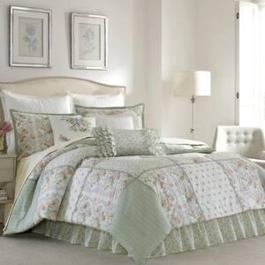 Harper 4-Piece Jade Green Floral Cotton King Comforter Set