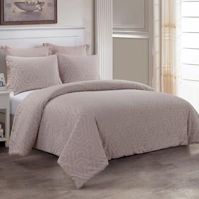 Seville 3-Piece Blush Cotton Queen Comforter Set