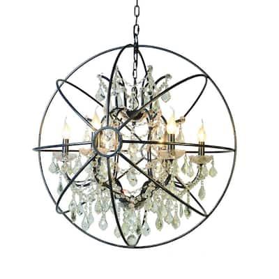 Contessa Collection 6-Light Matte Black Chandelier