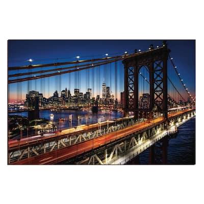 "Oppidan Home ""Evening on the Manhattan Bridge"" Acrylic Wall Art 32 in. H x 48 in. W"