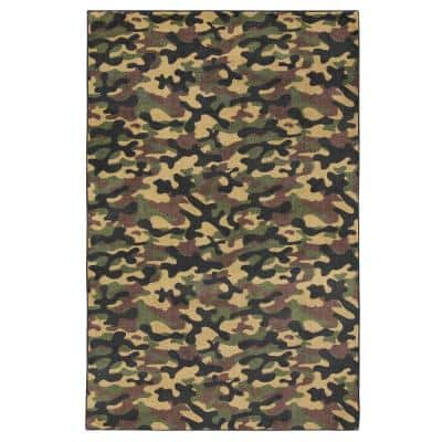 Camouflage Black 3 ft. 4 in. x 5 ft. Theme Area Rug