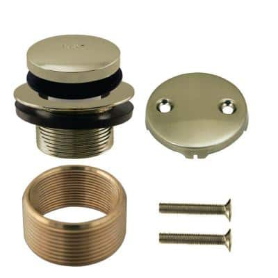 Universal Tip-Toe Trim Kit with 2-Hole Overflow Cover with Adapter Ring, Polished Nickel