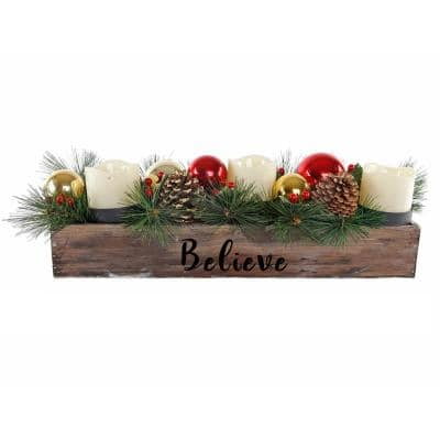 23 in. L Wood Believe Ledge Candle Holder with Pinecones and Berries