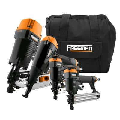 Pneumatic Framing and Finishing Nailers and Stapler Combo Kit with Canvas Bag (4-Pieces)