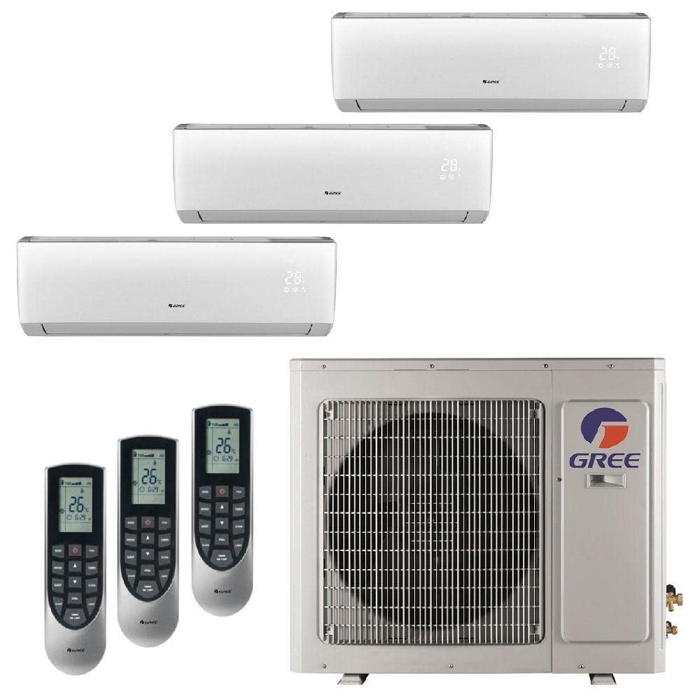 Gree Multi 21 Zone 26000 Btu Ductless Mini Split Air Conditioner With Heat Inverter And Remote 230 Volt Multi24hp302 The Home Depot