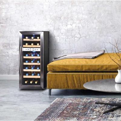 Dual Zone 18-Bottle Freestanding Wine Cooler Fridge with Quiet Operation and Beech Wood Finishes - Stainless Steel