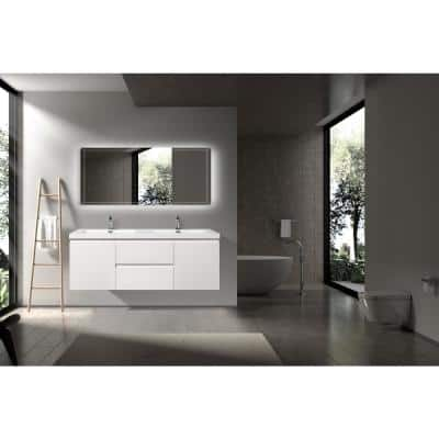 60 in. W x 19.5 in. D x 20.5 in. H Bathroom Vanity Side Cabinet in White with White Top and Double Basin