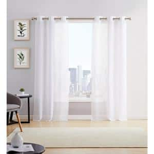 White Linen Grommet Sheer Curtain - 38 in. W x 84 in. L  (Set of 2)