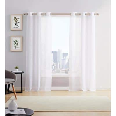 White Linen Grommet Sheer Curtain - 38 in. W x 84 in. L  (Set of 2)