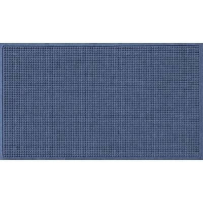 Aqua Shield Squares 35 in. x 59 in. PET Polyester Doormat Navy