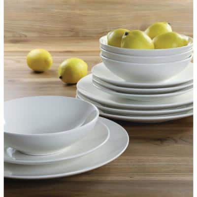 12-Piece Casual Off white Ceramic Dinnerware Set (Service for 4)
