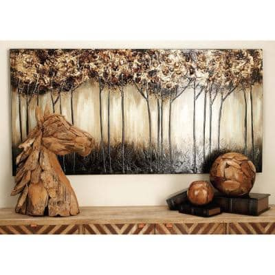 """30 in. x 60 in. """"Skinny Treescape"""" Hand Painted Canvas Wall Art"""