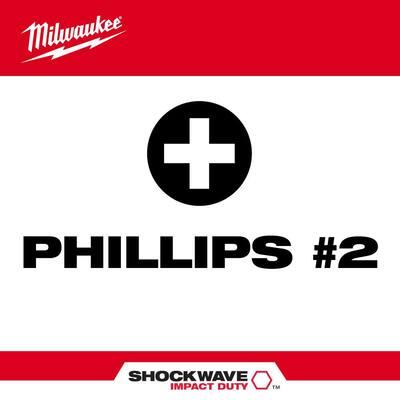 SHOCKWAVE Impact Duty 3-1/2 in. Phillips #2 Alloy Steel Screw Driver Bit (2-Pack)