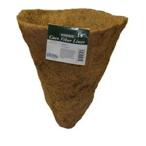 English Garden 14 in. Premium Cone Shaped Basket Replacement Coconut Liner with Soil Moist Mat (2-Pack)