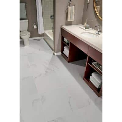 Carrara 24 in. x 24 in. Polished Porcelain Floor and Wall Tile (16 sq. ft. / case)