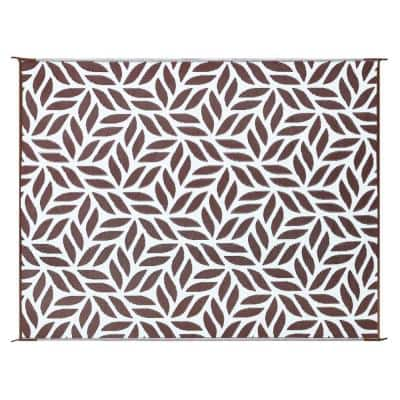 Brown/White 8 ft. x 10 ft. Abstract Leaf Reversible Virgin Polypropylene Mat with UV Protection