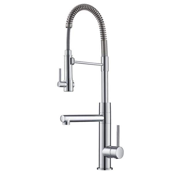 KRAUS Artec Pro 2-Function Commercial Style Pre-Rinse Kitchen Faucet with Pull-Down Spring Spout and Pot Filler, Chrome Finish