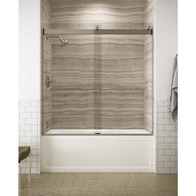 Levity 59 in. x 62 in. Semi-Frameless Sliding Tub Door in Nickel with Handle and Clear Glass