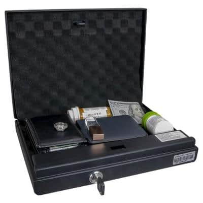 Portable Quick Access Gun Safety Box with Electronic Lock, Override Key and Tether Cable