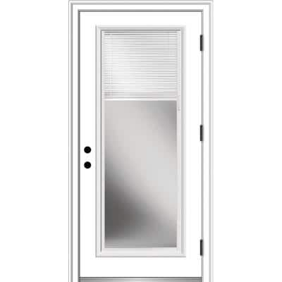36 in. x 80 in. Internal Blinds Left-Hand Outswing Full Lite Clear Primed Fiberglass Smooth Prehung Front Door