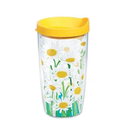 Painted Daisies Clear 16 oz. Plastic Double Walled Insulated Tumbler with Travel Lid
